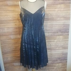 Adrianna Papell blue pleated tulle mesh dress 14P
